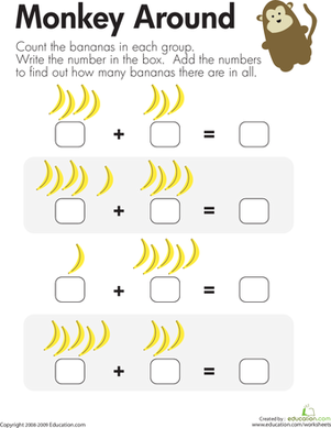 Monkey Math Add The Bananas Worksheet Education Com