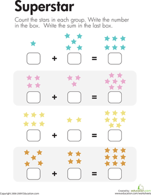 First Grade Math Worksheets: Number Sentence: Superstar Addition
