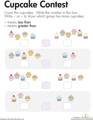 Kindergarten Math Worksheets: Comparing Cupcakes: Less Than and Greater Than