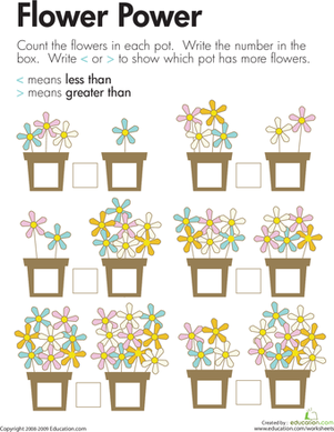 First Grade Math Worksheets Comparing Flowers Less Than And Greater