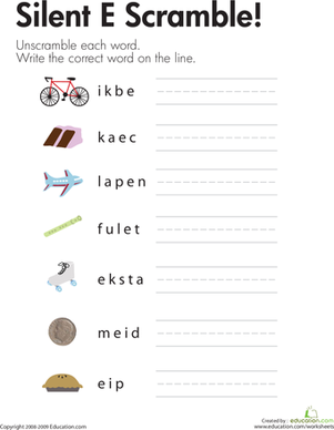 "First Grade Reading & Writing Worksheets: Silent ""E"" Word List"