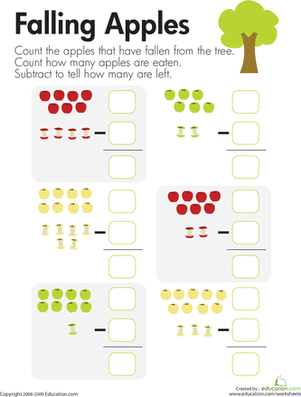 Kindergarten Math Worksheets: Subtraction: Falling Apples