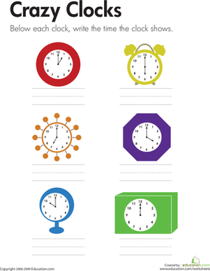 First Grade Math Worksheets: Telling Time: Crazy Clocks