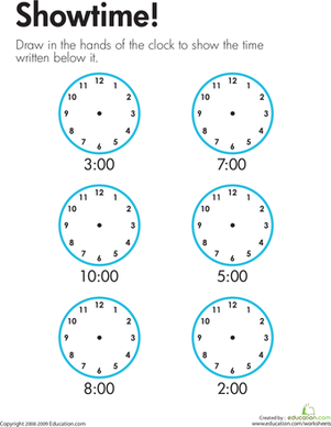 First Grade Math Worksheets: Telling Time: Showtime!