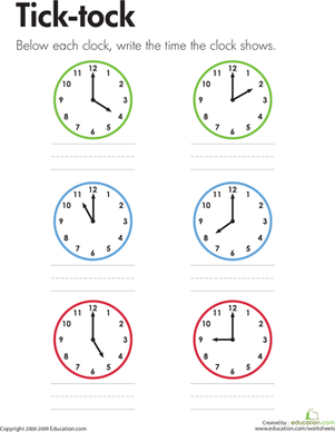 First Grade Math Worksheets: Telling Time: Tick-tock