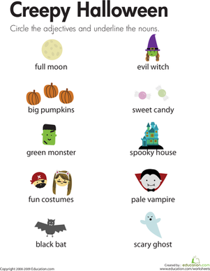 Second Grade Holidays & Seasons Worksheets: Halloween Adjectives and Nouns