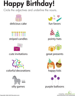 Second Grade Holidays & Seasons Worksheets: Adjectives and Nouns: Happy Birthday