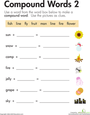 Second Grade Reading & Writing Worksheets: Word Addition: Compound Words 2