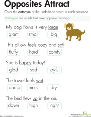 Second Grade Reading & Writing Worksheets: Antonyms: Opposites Attract