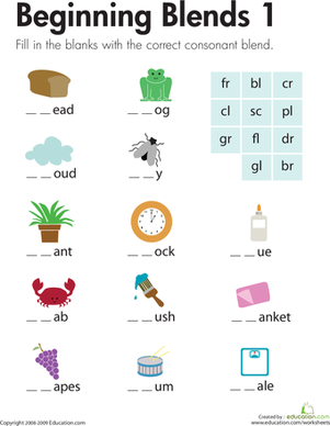 First Grade Reading & Writing Worksheets: Beginning Blends 1