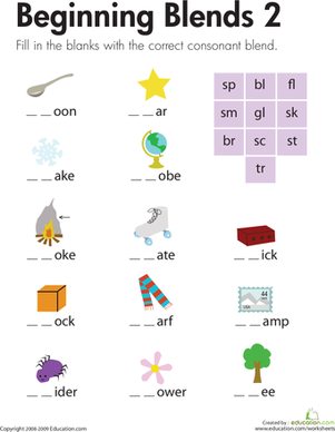First Grade Reading & Writing Worksheets: Beginning Blends 2