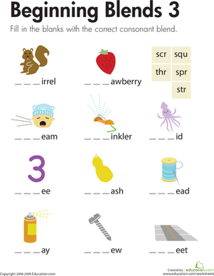 First Grade Reading & Writing Worksheets: Beginning Blends 3