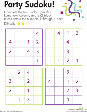 Second Grade Offline Games Worksheets: Party Sudoku!