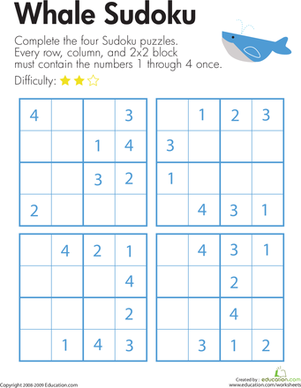 Second Grade Offline games Worksheets: Sudoku for Beginners: Whale