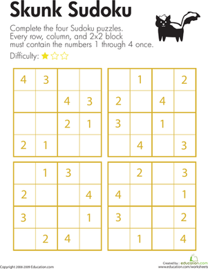 Second Grade Offline Games Worksheets: Sudoku for Beginners: Skunk