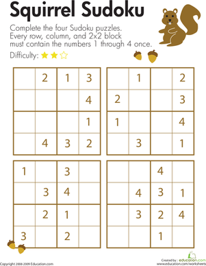 Second Grade Offline Games Worksheets: Squirrel Sudoku