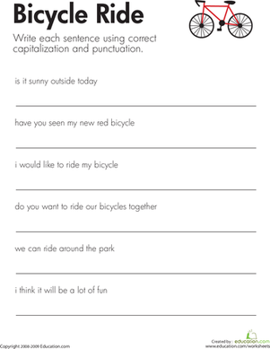 Printables Capitalization And Punctuation Worksheets fix the sentences bicycle ride worksheet education com second grade reading writing worksheets ride