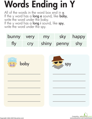 "Second Grade Reading & Writing Worksheets: Vowel Sounds: Y as Long ""E"" and Long ""I"""