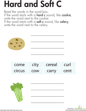 Second Grade Reading & Writing Worksheets: Hard and Soft C