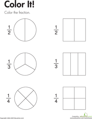 Second Grade Math Worksheets: Fraction Practice: Color It!