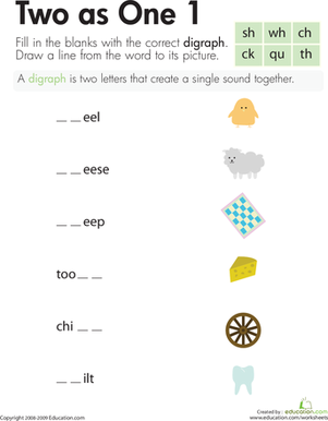Second Grade Reading & Writing Worksheets: Digraphs: Two as One 1
