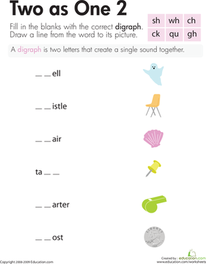 Second Grade Reading & Writing Worksheets: Digraphs: Two as One 2