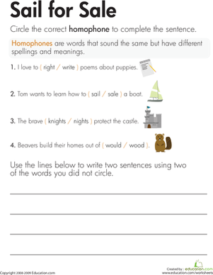 Second Grade Reading & Writing Worksheets: Homophones: Sail for Sale