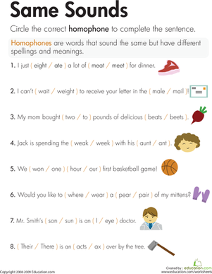 Printables Homonyms Worksheets homophones same sounds worksheet education com second grade reading writing worksheets sounds