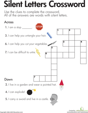 Second Grade Reading & Writing Worksheets: Silent Letters Crossword