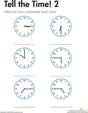 Second Grade Math Worksheets: Telling the Time Made Easy!