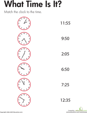 Telling Time: What Time Is It? | Worksheet | Education.com