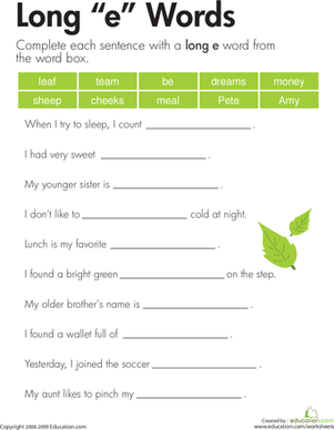 "Second Grade Reading & Writing Worksheets: Long ""e"" Sound"