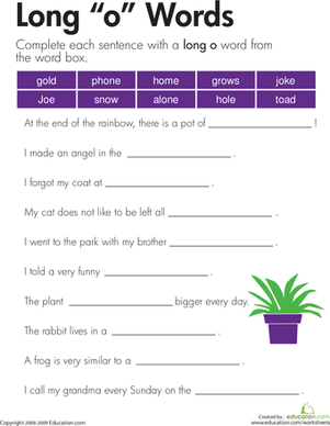 "Second Grade Reading & Writing Worksheets: Long ""o"" Sound"