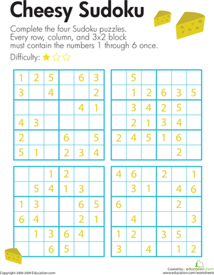 Third Grade Offline games Worksheets: Cheesy Sudoku