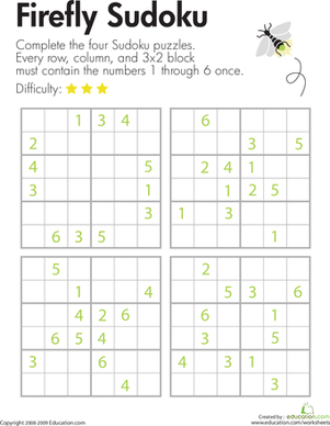 Third Grade Offline Games Worksheets: Sudoku 6x6