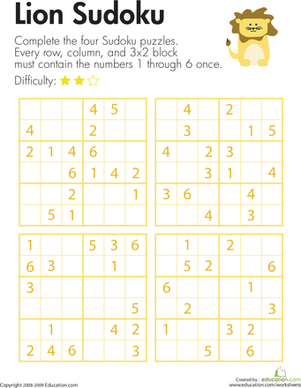 Third Grade Offline Games Worksheets: Lion Sudoku