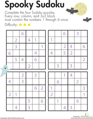 Spooky Sudoku Third on Social Studies Projects Ideas