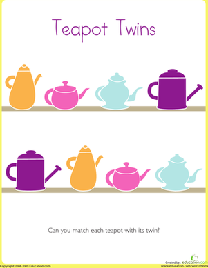 Preschool Math Worksheets: Connect the Teapot Game