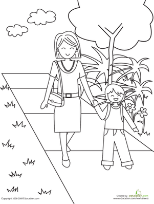Kindergarten Coloring Worksheets: Color the Walk to School