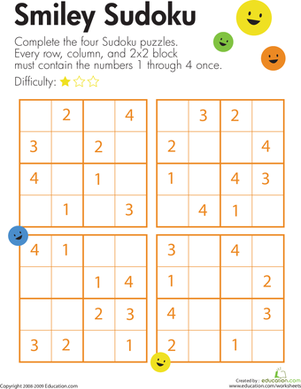 Second Grade Offline Games Worksheets: Smiley Sudoku