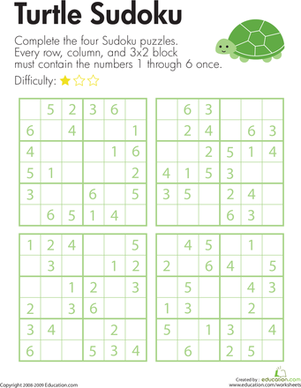 Third Grade Offline games Worksheets: Turtle Sudoku