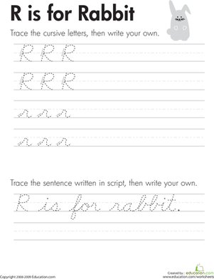 "Third Grade Reading & Writing Worksheets: Cursive Handwriting: ""R"" is for Rabbit"