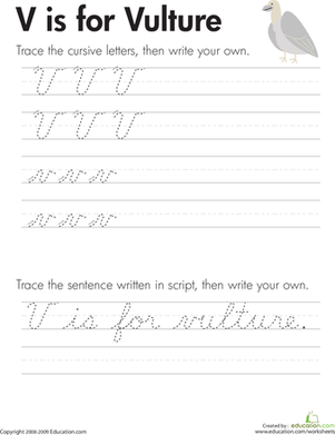 "Third Grade Reading & Writing Worksheets: Cursive Handwriting: ""V"" is for Vulture"