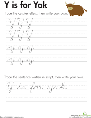 "Third Grade Reading & Writing Worksheets: Cursive Handwriting: ""Y"" is for Yak"