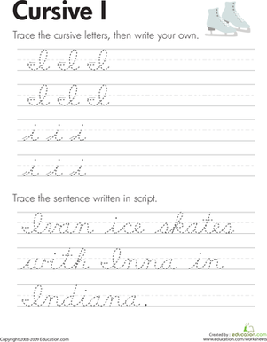 Third Grade Reading & Writing Worksheets: Cursive I