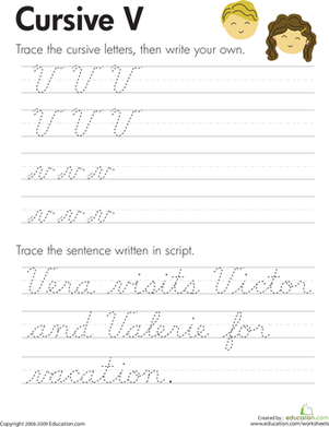 Third Grade Reading & Writing Worksheets: Cursive V