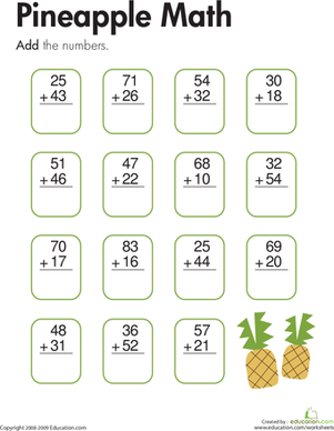Second Grade Math Worksheets: Pineapple Math: Two-Digit Addition