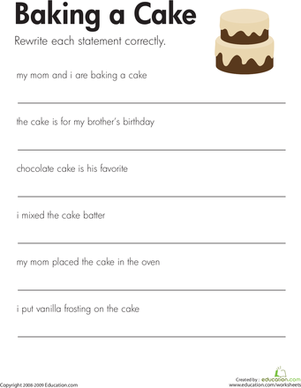 Fix the Sentences: Baking a Cake | Worksheet | Education.com