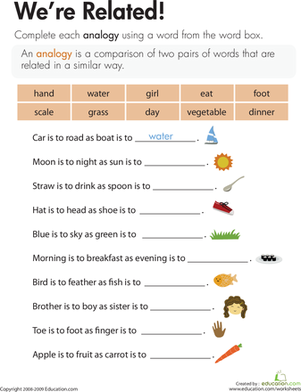 Third Grade Reading & Writing Worksheets: Analogies Worksheet: We're Related!