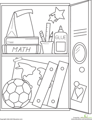 School Locker Coloring Page